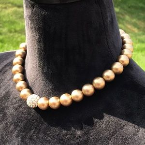 Jewelry - Bronze Beaded Pearl Necklace and Bracelet Set
